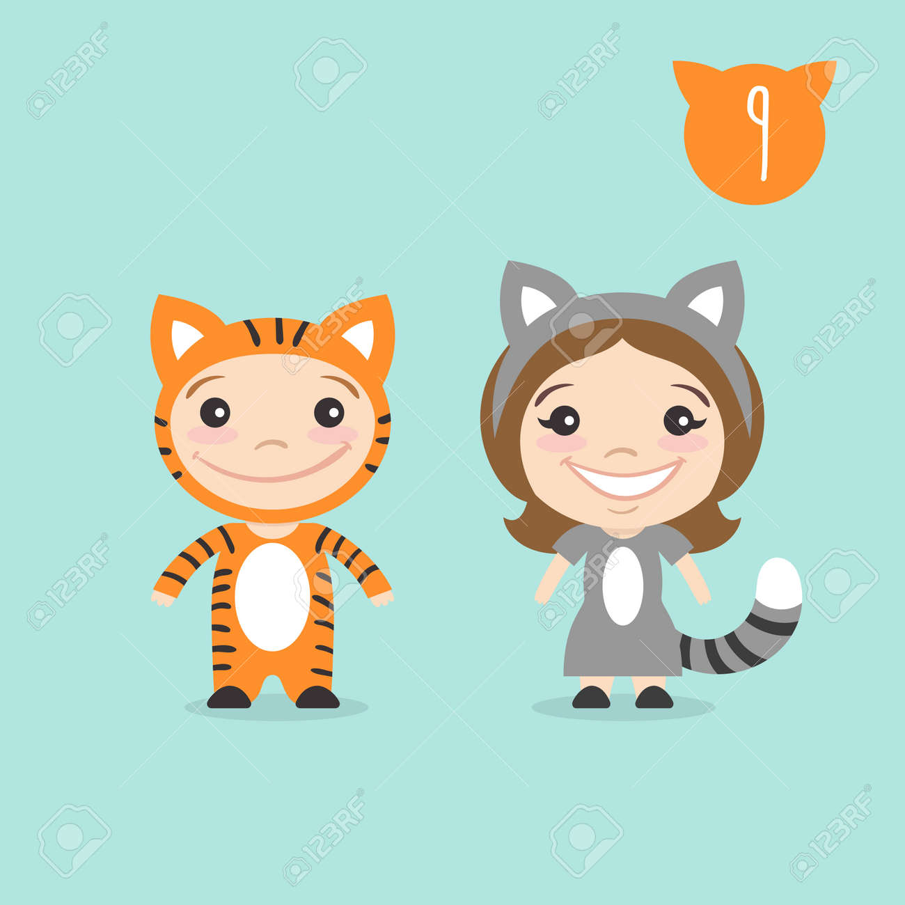 Vector - Vector illustration of two happy cute kids characters. Boy in tiger costume and a girl in cat costume.  sc 1 st  123RF.com & Vector Illustration Of Two Happy Cute Kids Characters. Boy In ...