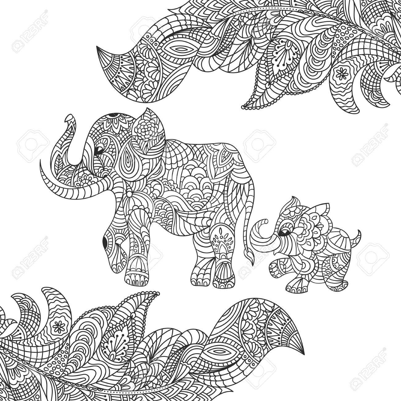 Vector Monochrome Hand Drawn Zentagle Illustration Of An Elephant ...