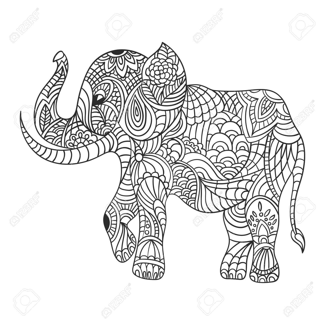Banque d images - Vecteur monochrome tiré par la main illustration zentagle  d un éléphant. Coloriage avec des détails élevés isolé sur fond blanc. le  style ... 357e7f4f0b1