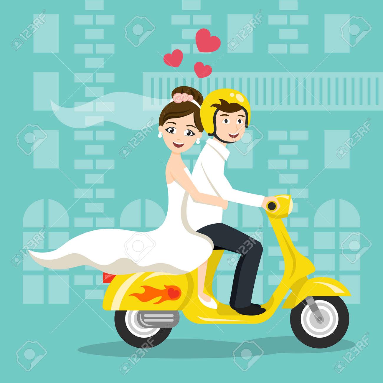 d840e427f8a Archivio Fotografico - Illustrazione vettoriale di giovani sposi Sposi  felici di guida su scooter. trasporto stile retrò, motorino d'epoca in cerca .