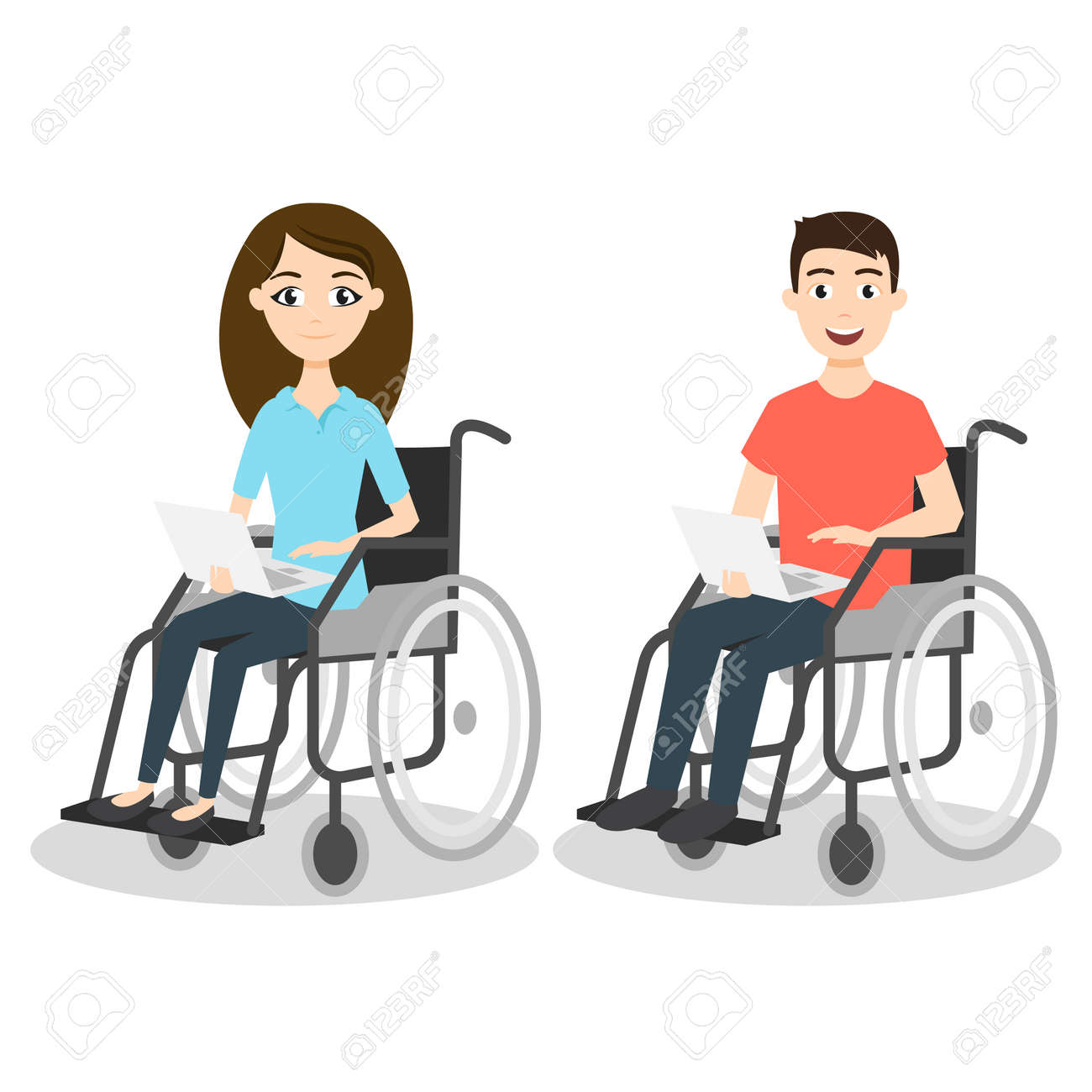 Vector illustration of two young man and woman in wheelchair holding laptops. - 55709493