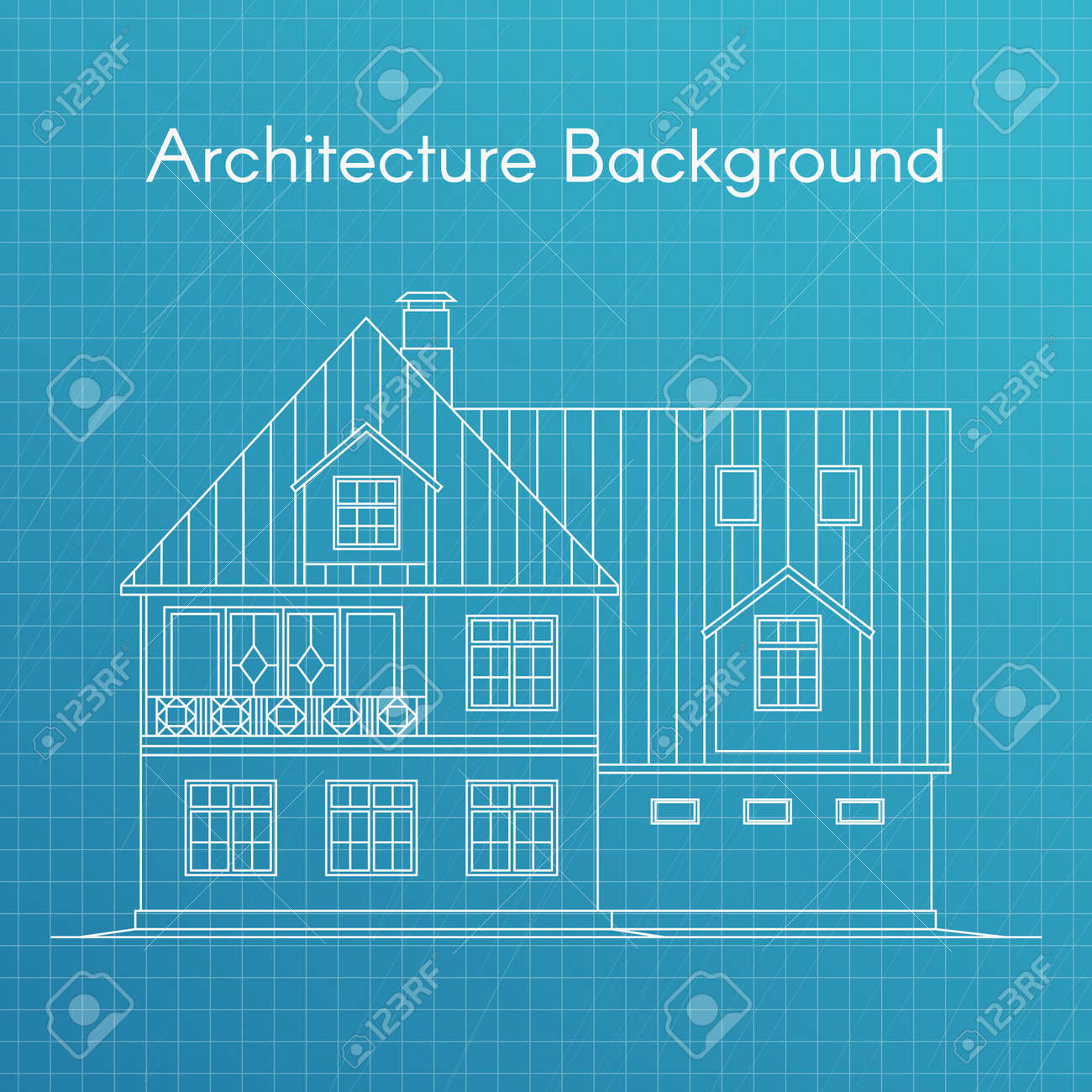Vector illustration of family house or cottage architecture vector vector illustration of family house or cottage architecture blueprint background large private cottage for real estate brochures or web icon malvernweather Images