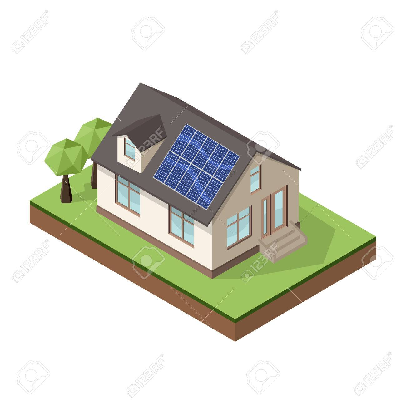 Vector illustration of isometric private cottage or house with solar roof panels for real estate brochures or web icon. - 56506311