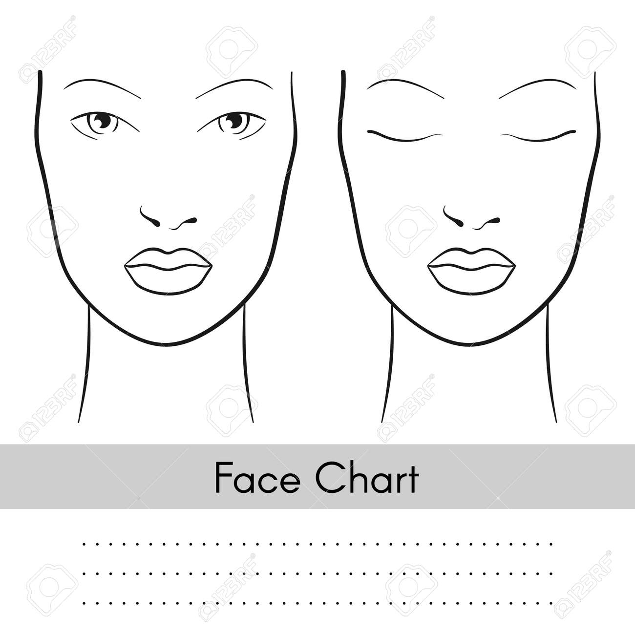 Vector beautiful woman face chart portrait. Female face with open and closed eyes. Blank template for artist makeup. - 57550360