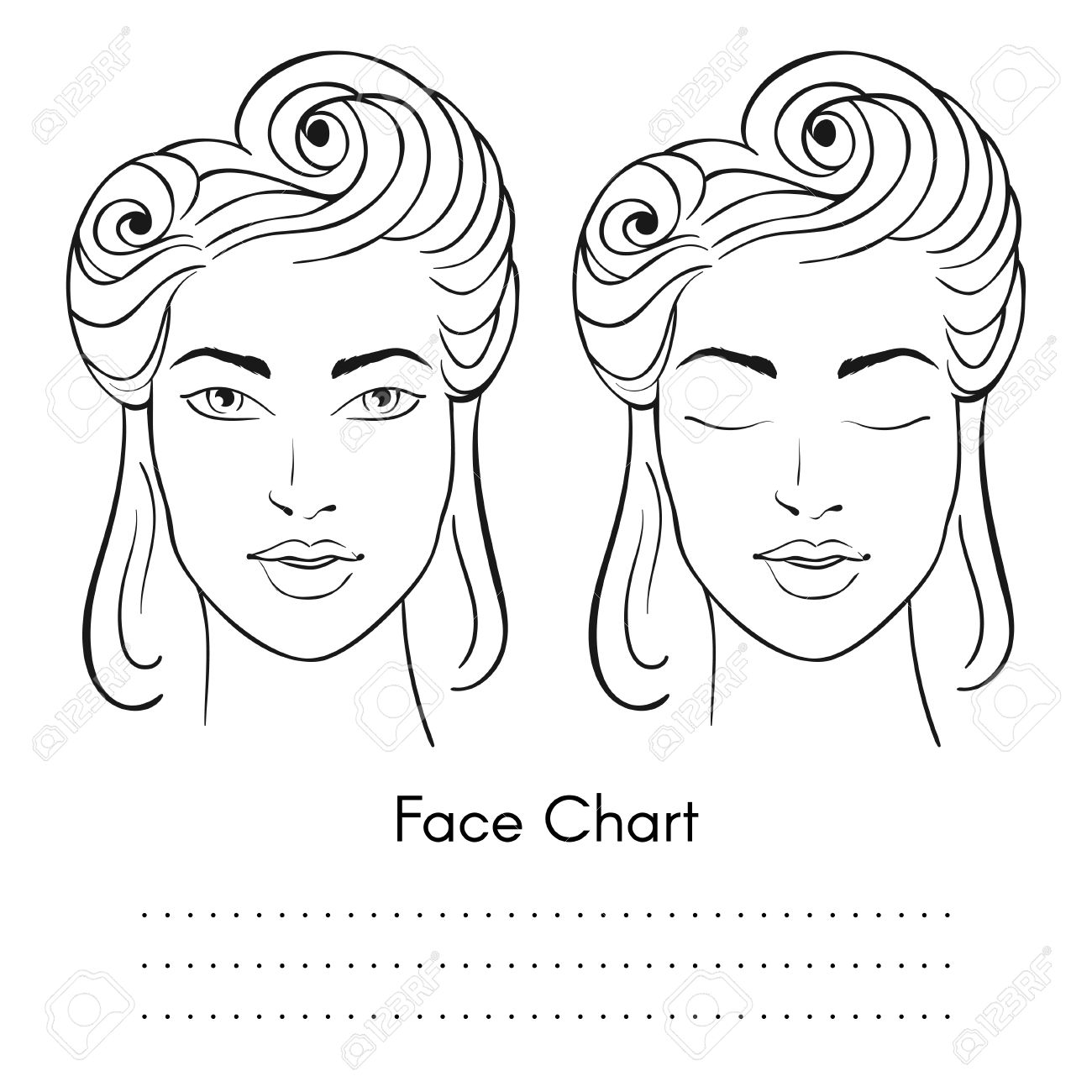 Vector beautiful woman face chart portrait female face with vector beautiful woman face chart portrait female face with open and closed eyes blank pronofoot35fo Gallery