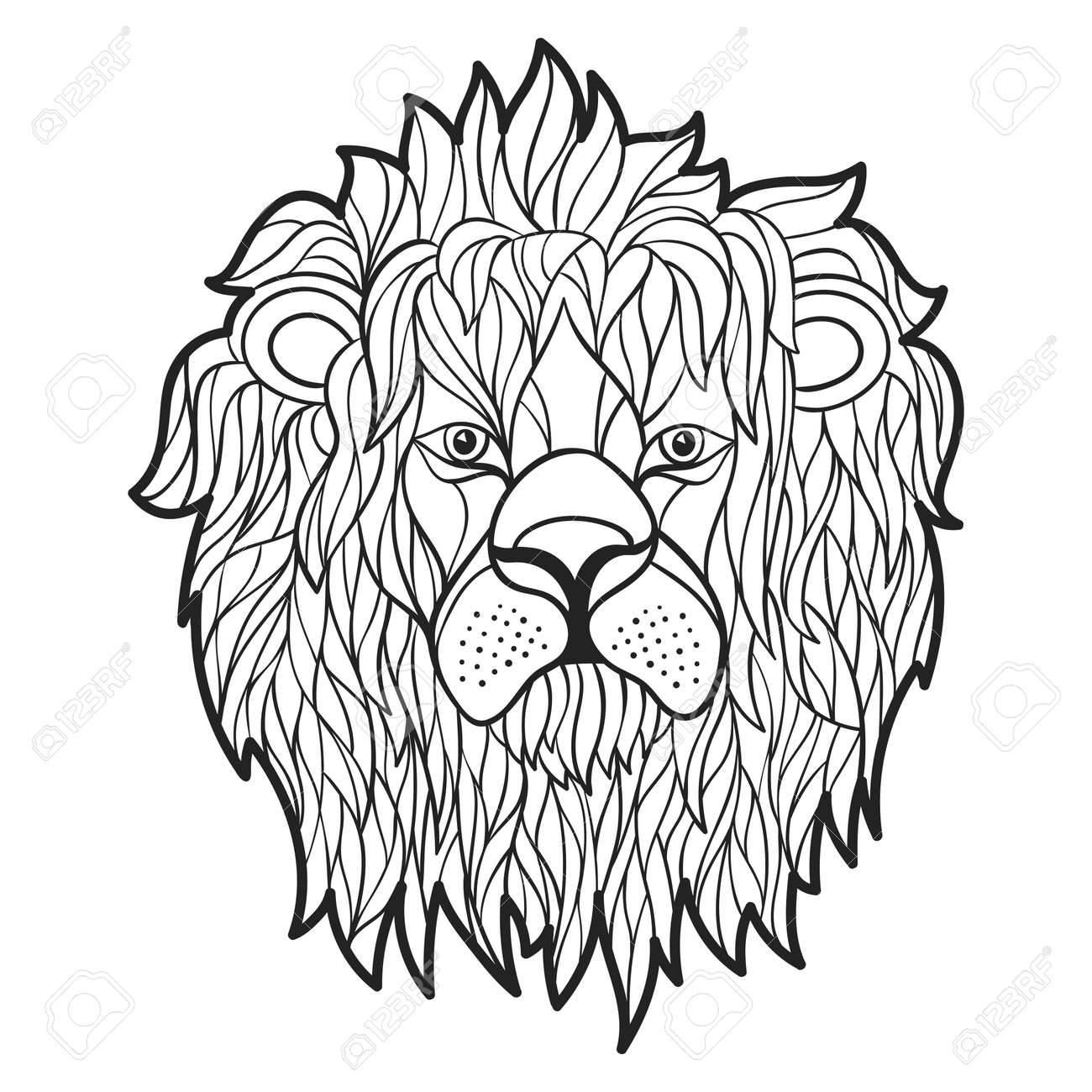 Vector Monochrome Hand Drawn Illustration Of Lion Face. Coloring ...