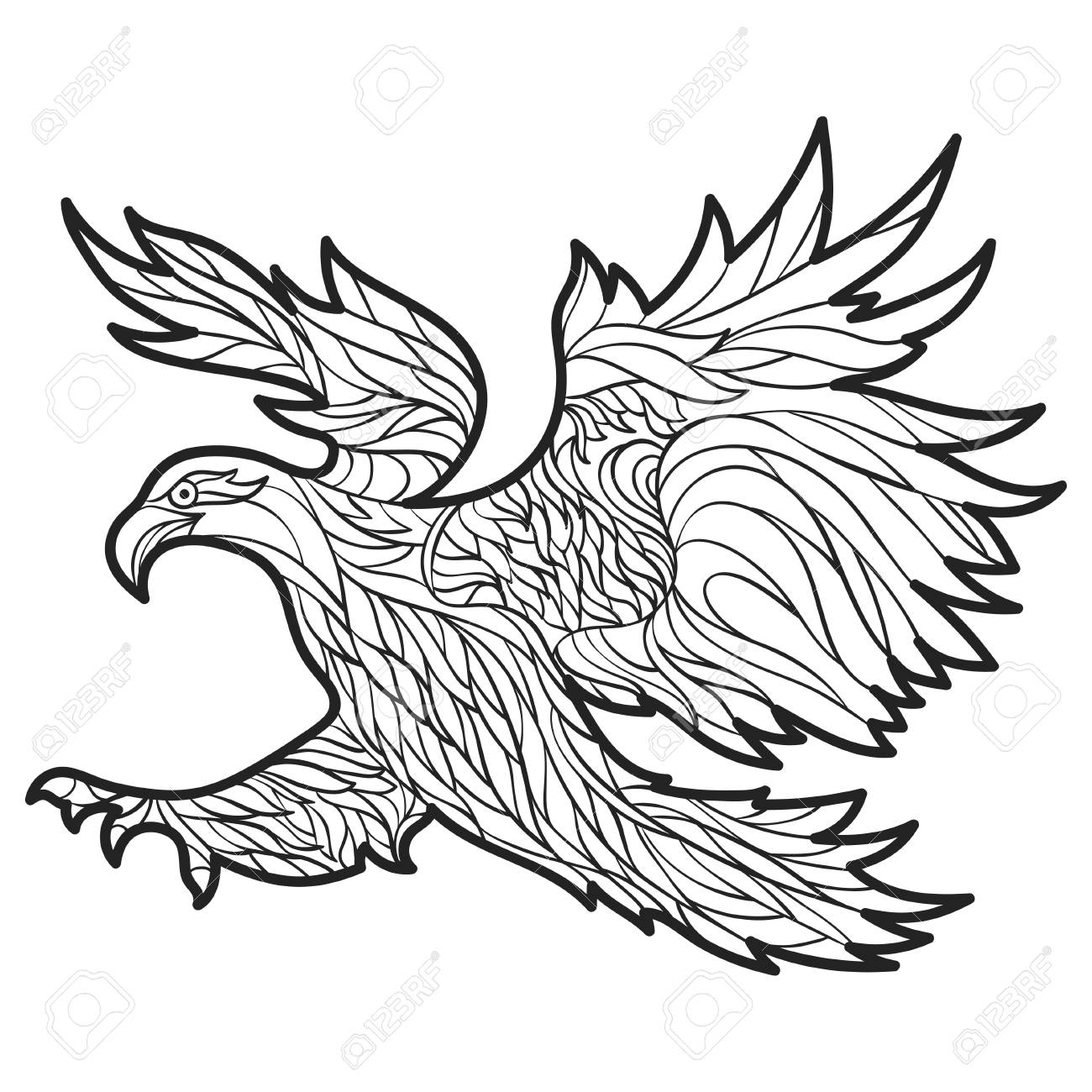 Vector Monochrome Hand Drawn Illustration Of Eagle. Coloring ...