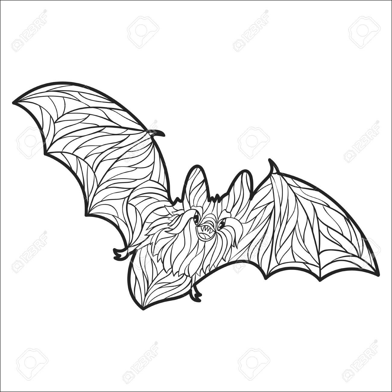 Vector Monocromo Dibujado A Mano Ilustración De Murciélago. Página ...