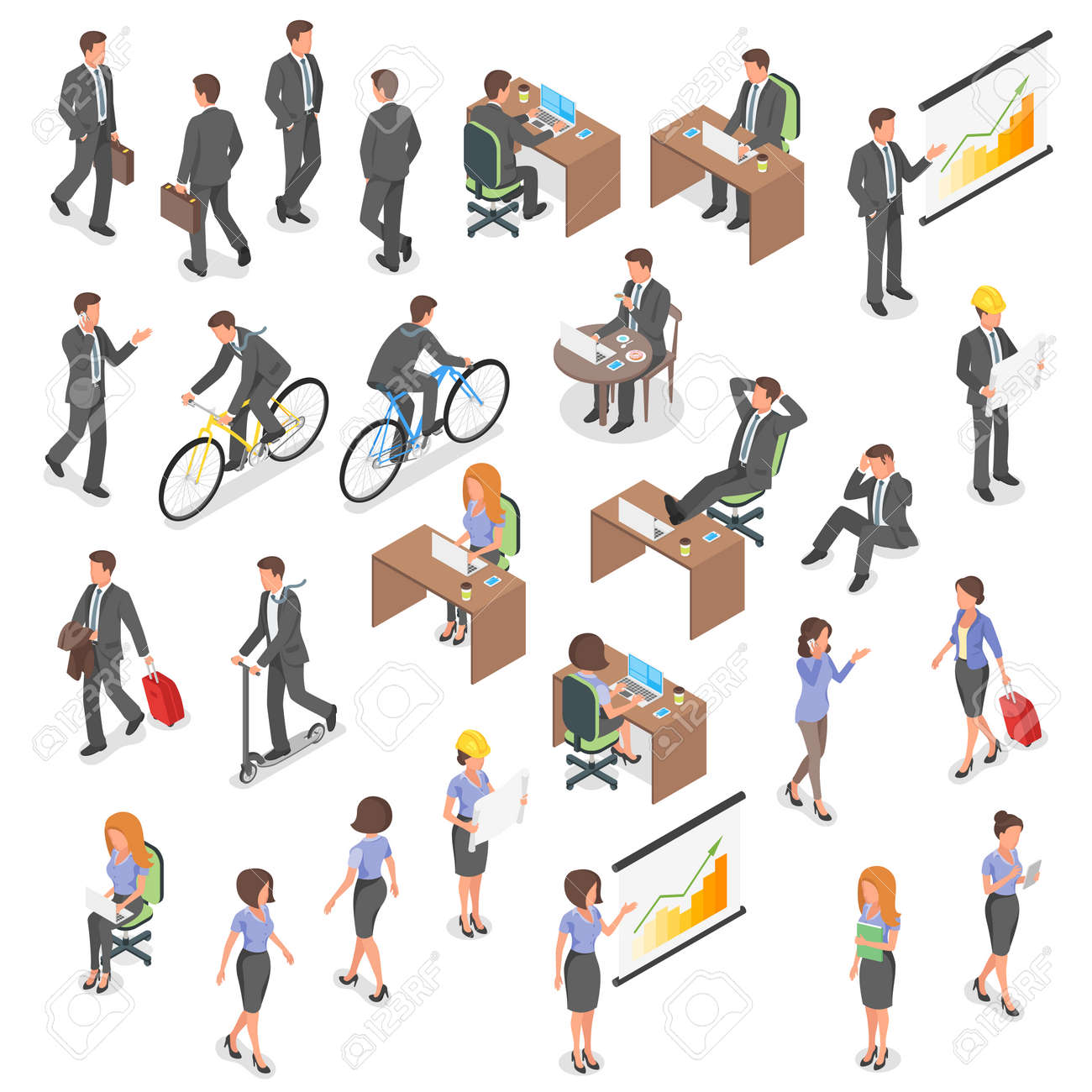 Isometric vector set of business people: man and woman. - 60702521
