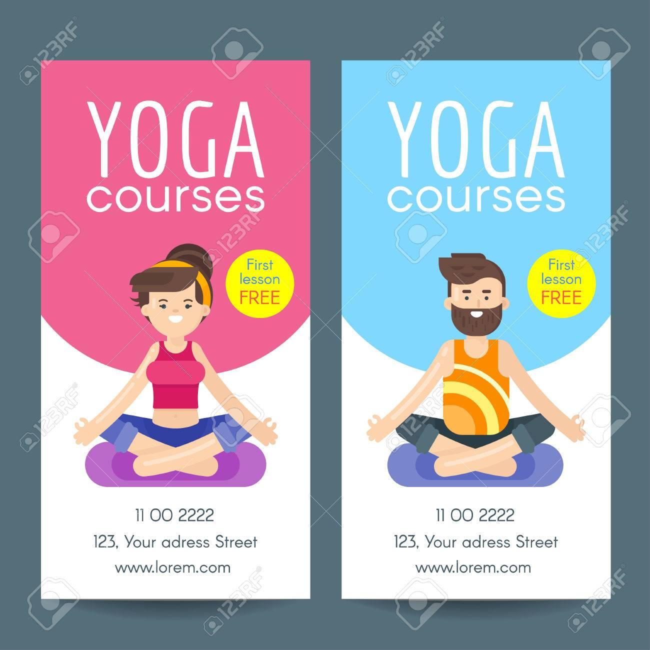 Vector Flachen Stil Design-Vorlage Für Yoga-Flyer. Frau Und Bärtiger ...