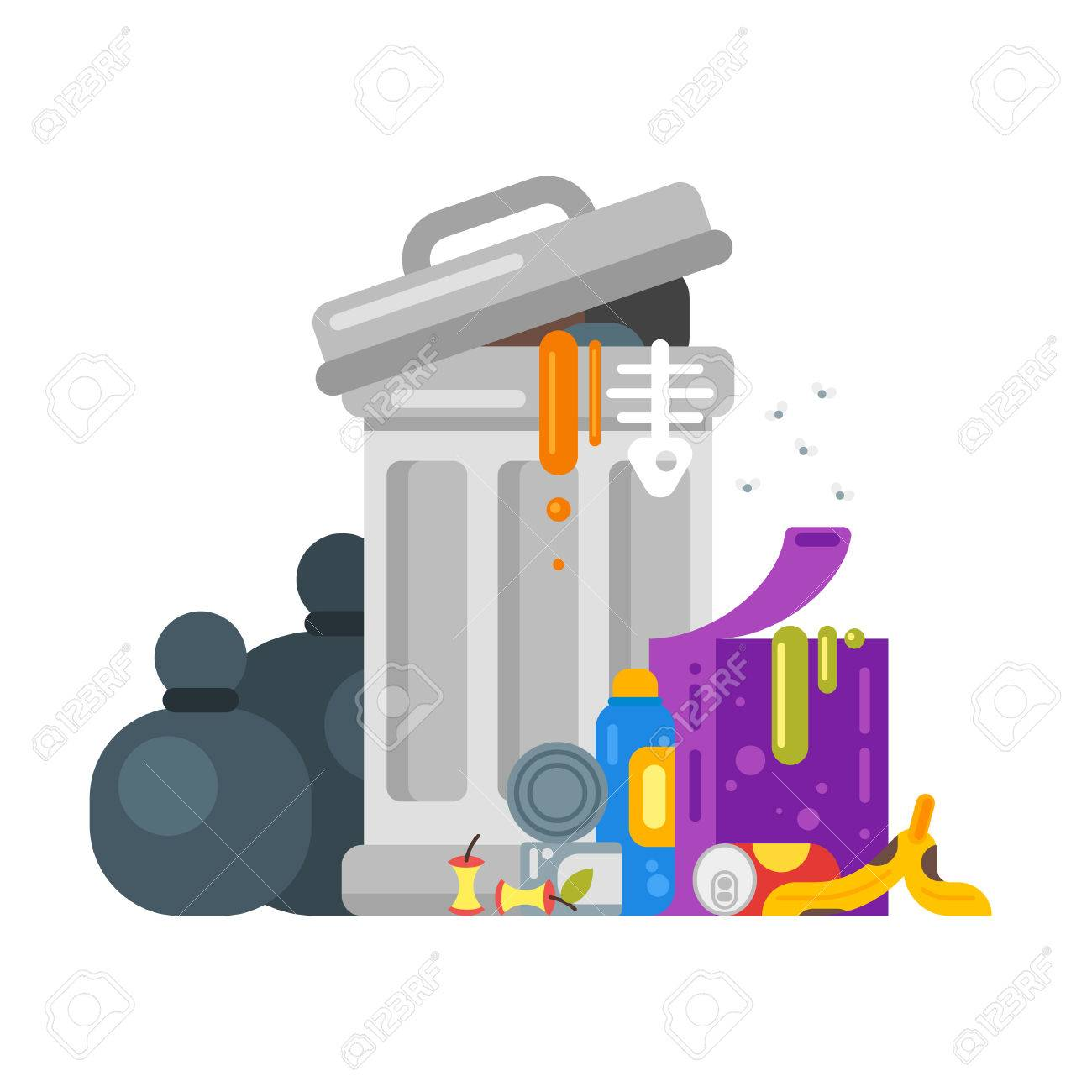 Vector flat style illustration of trash. Spoiled food. Icon for web. - 64855749