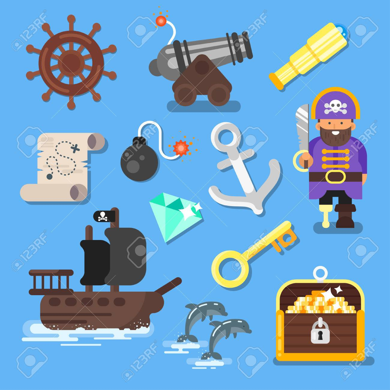 Vector flat style set of board game icon: pirate ship, treasure chest, map. Isolated on blue background. - 67056141
