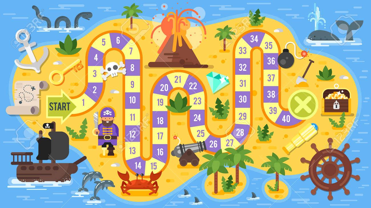 Vector Flachen Stil Illustration Der Kinder Piratenbrettspiel ...