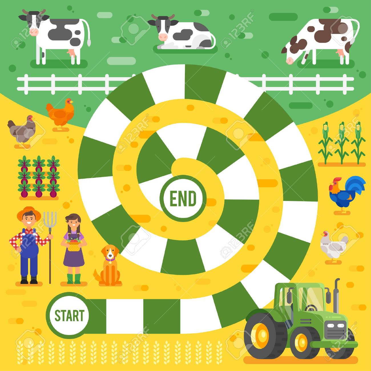 Vector flat style illustration of kids farm board game template. For print. - 67056235
