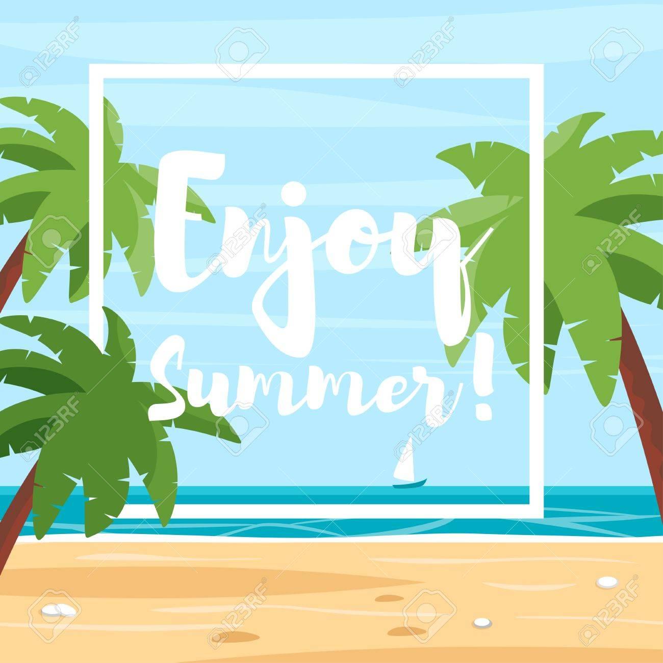 Vector Estilo De Dibujos Animados Ilustración De Playa Con Palmeras