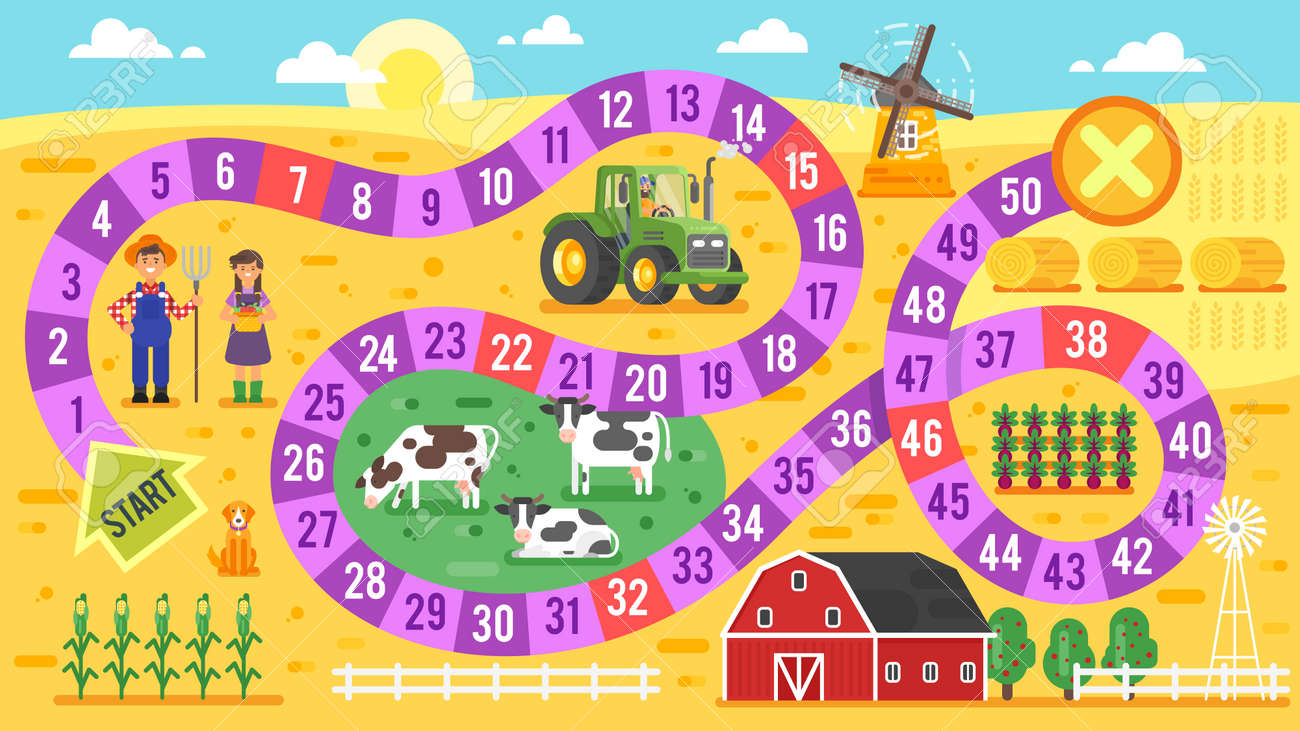 Vector flat style illustration of kids farm board game template. For print. - 67056282