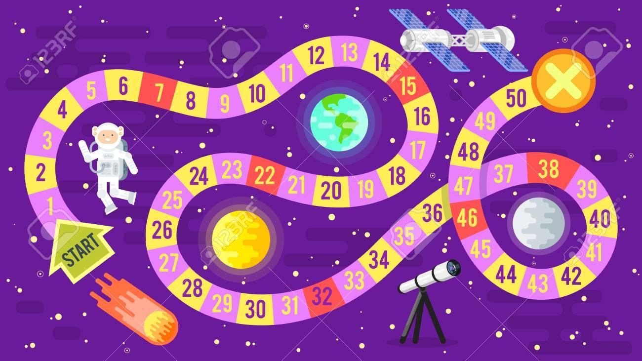 Vector Flach Stil Illustration Der Kinder Wissenschaft Und Raumfahrt