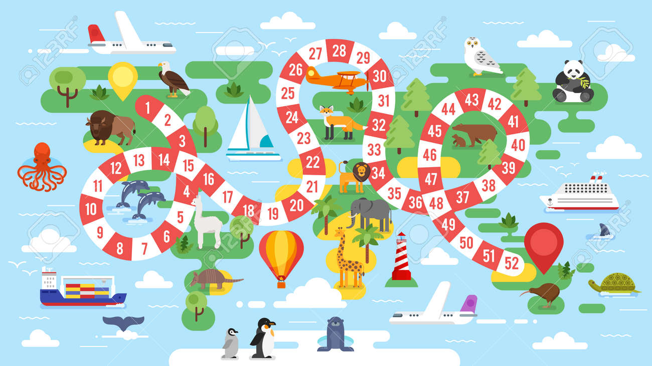 vector flat style illustration of kids world tour board game