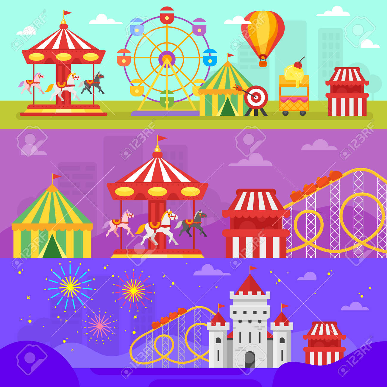 Vector flat style set of amusement park for kids banners template. - 79474079