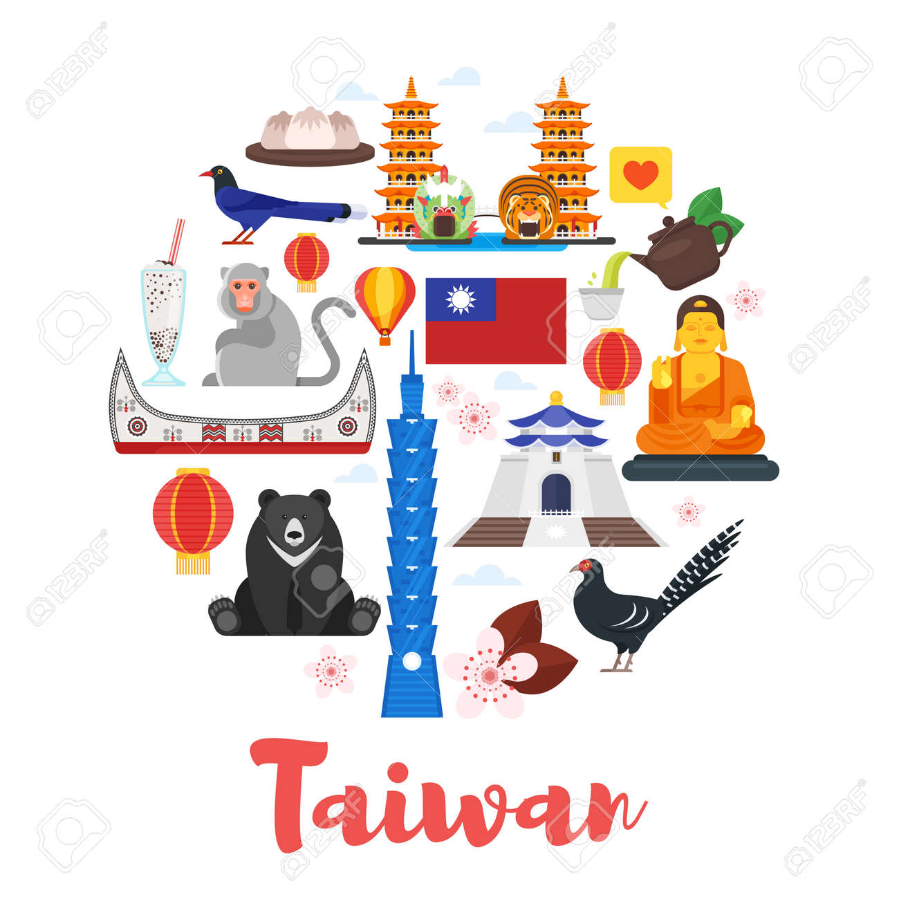 Vector flat style circle shape composition of Taiwan cultural symbols. Template for banner or poster for tourist. Isolated on white background - 83409909