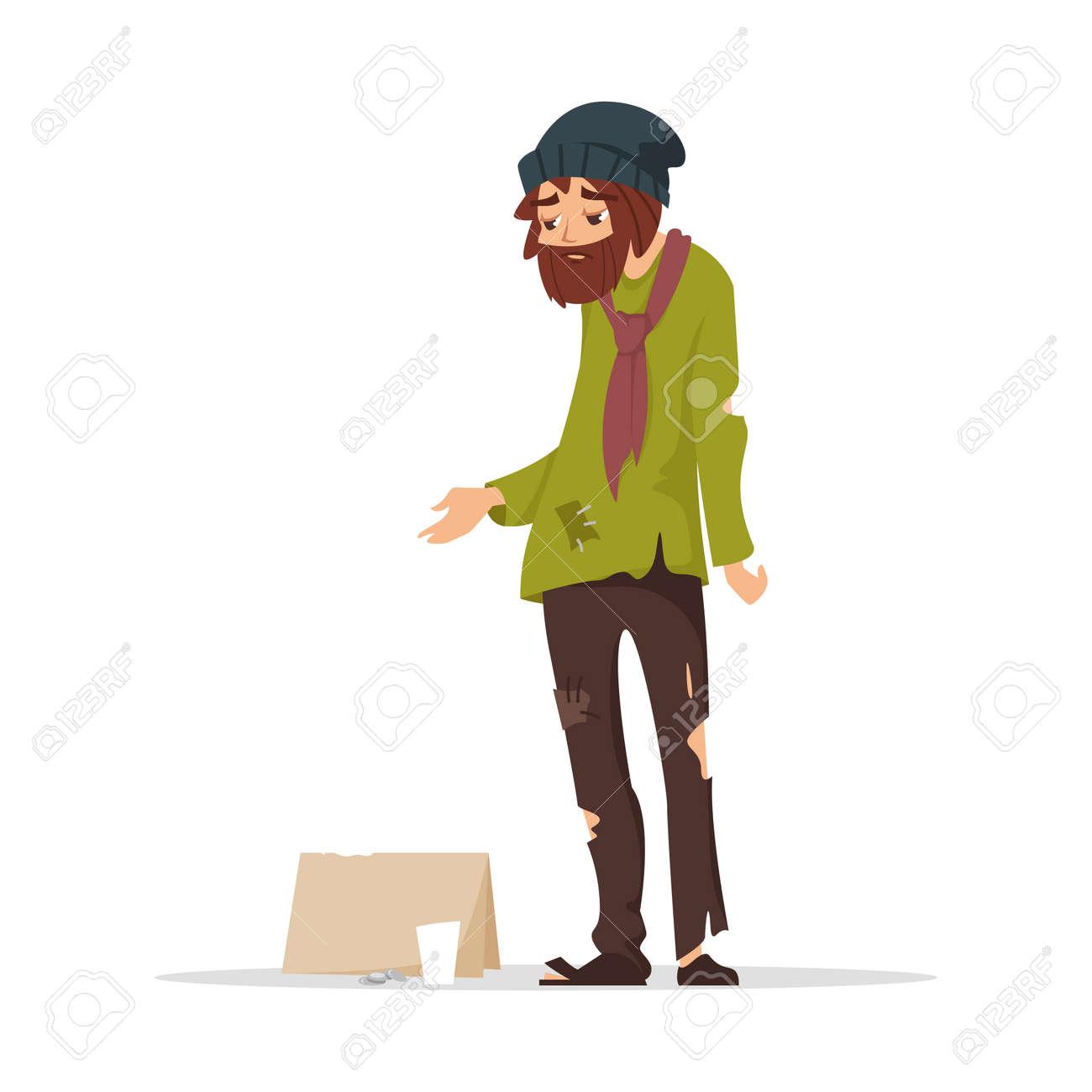 58c32578f173 Vector ilustración de estilo de dibujos animados de pobre hombre en ropa  rasgada pidiendo dinero. Aislados en fondo blanco.