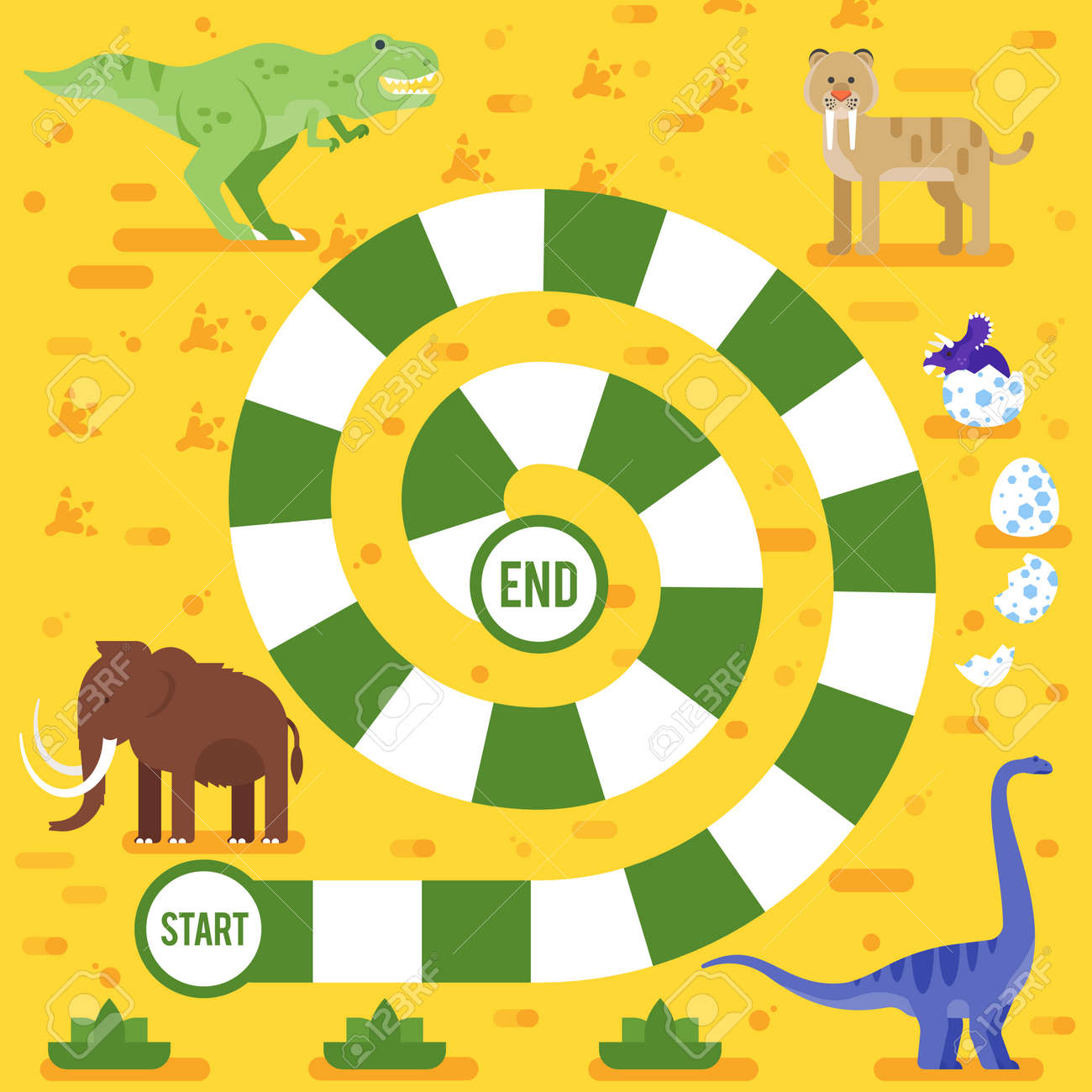Vector flat style illustration of kids board game with dinosaurs template. For print. - 83410005