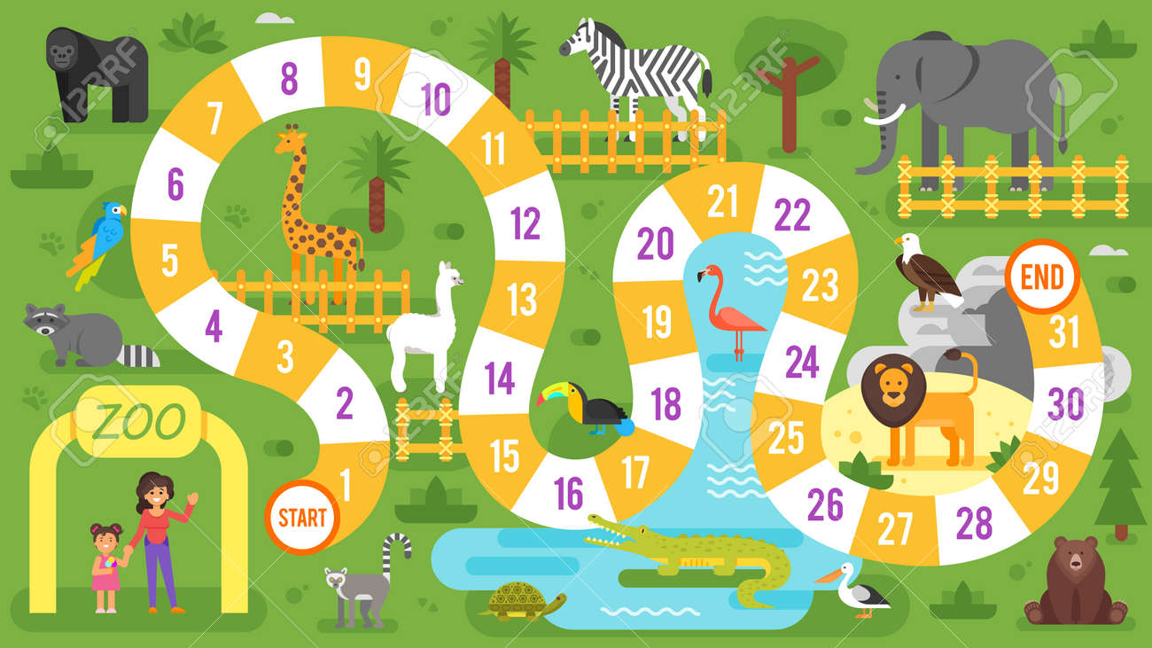 Vector flat style illustration of kids zoo animals board game template. For print. - 83410064