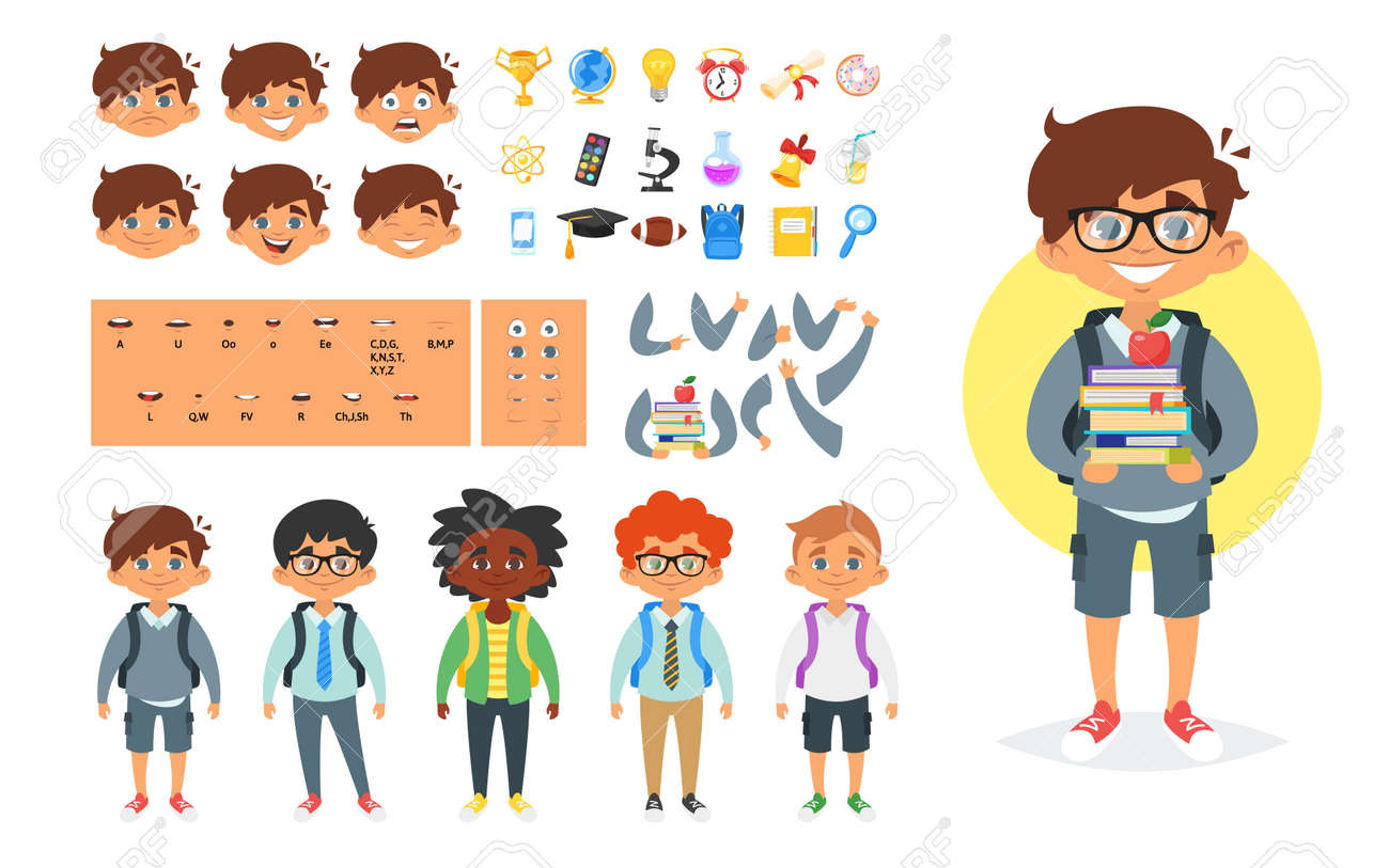 Vector cartoon style school boy character generator. Different emotions, mouth positions and hand gestures. School icons. Isolated on white background. - 85128878