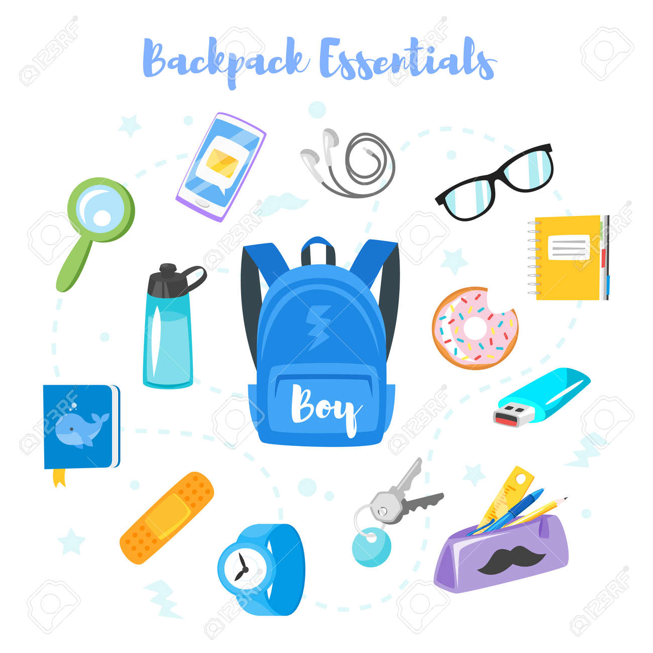 Vector cartoon style backpack essentials set for school boy. Isolated on white background. - 85129045