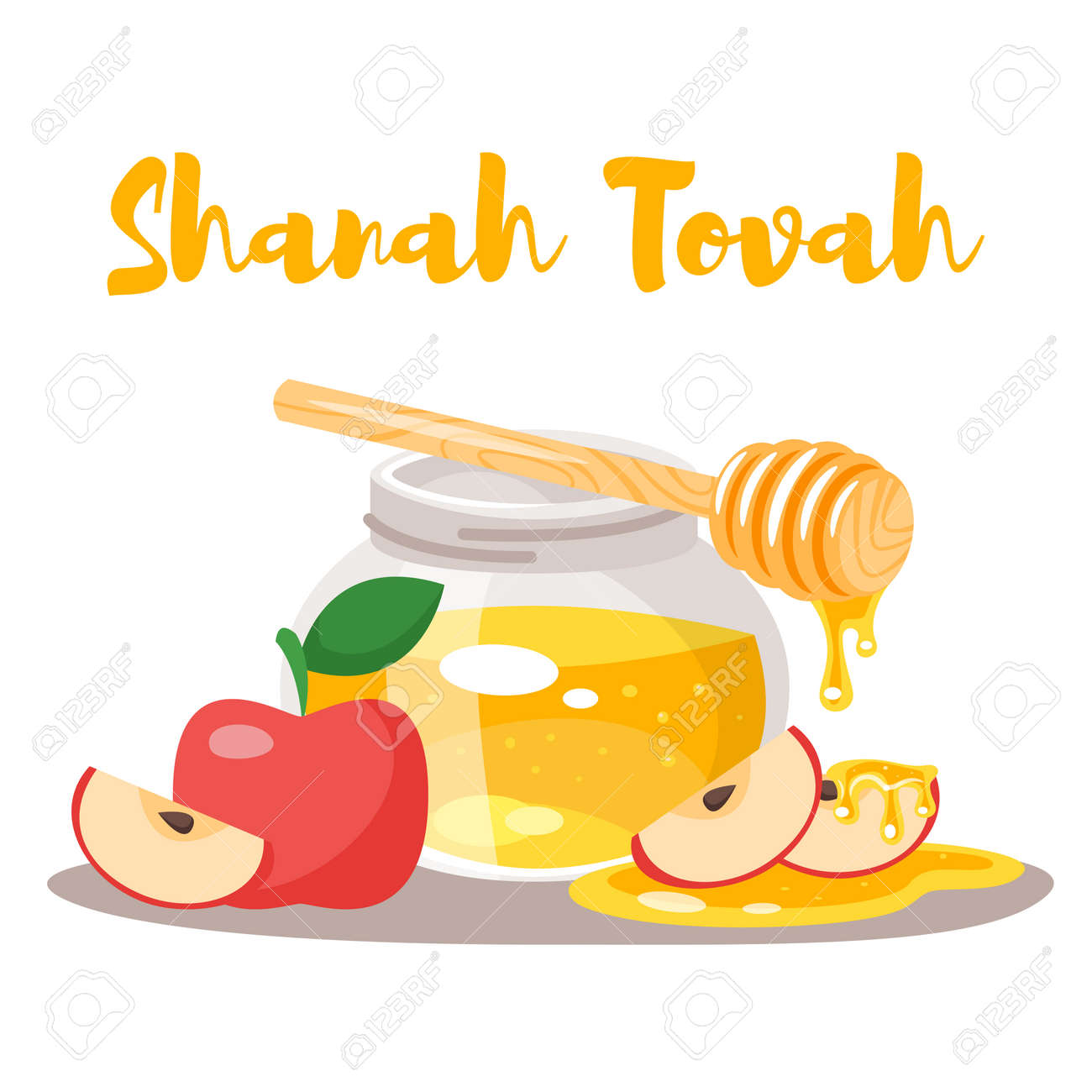 vector cartoon style shanah tovah greeting card template with