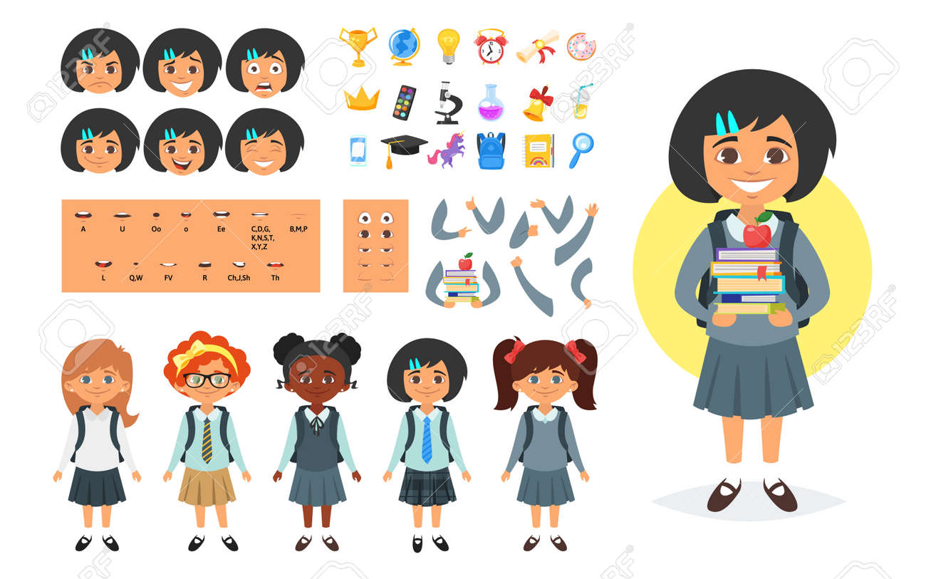Vector Cartoon Style School Girl Character Generator Different Royalty Free Cliparts Vectors And Stock Illustration Image 85129062