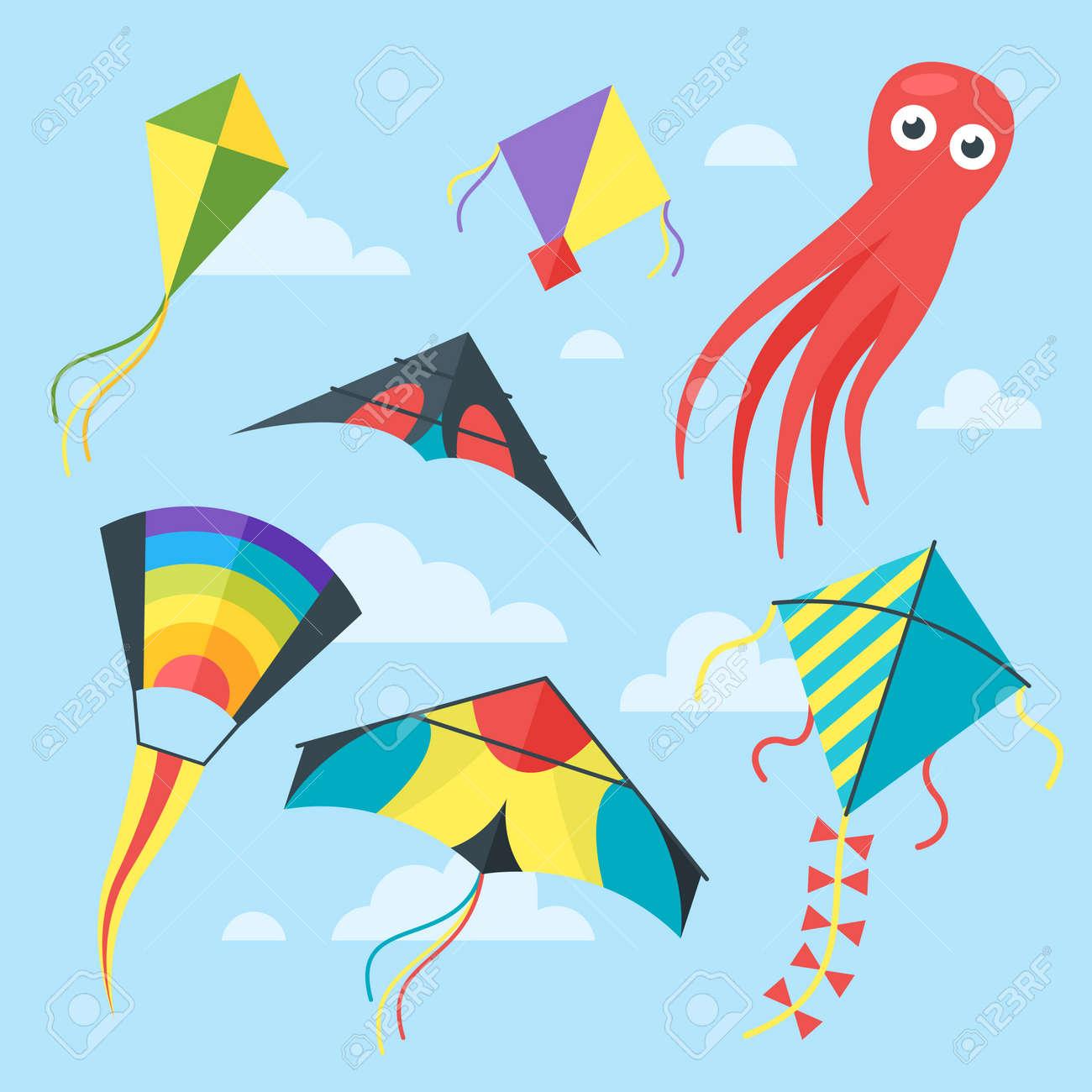 vector vlakke stijlreeks vliegers in de hemel met wolken ge�soleerdstockfoto vector vlakke stijlreeks vliegers in de hemel met wolken ge�soleerd op blauwe achtergrond