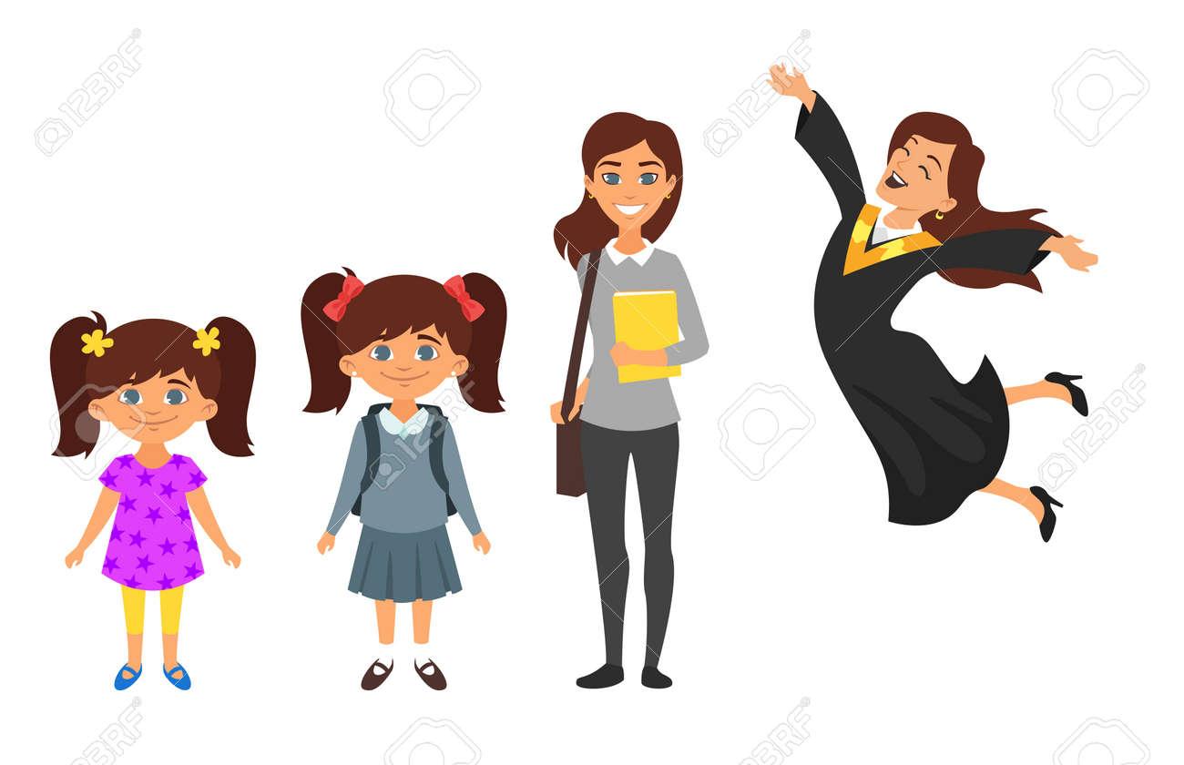 Guardería De Personaje De Estilo De Dibujos Animados De Vector Colegiala Estudiante Mujer Graduada Aislada Sobre Fondo Blanco