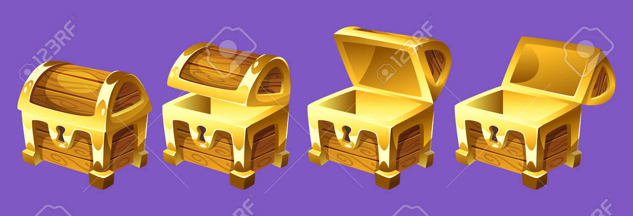Vector cartoon style illustration of treasure chest for animation. Open and closed antique box. Isolated on white background. Game user interface (GUI) element for video games, computer or web design. - 90068432