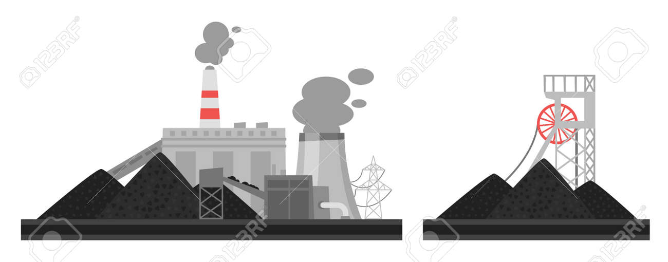Vector cartoon illustration of coal plant. Environmental pollution concept. - 91780027
