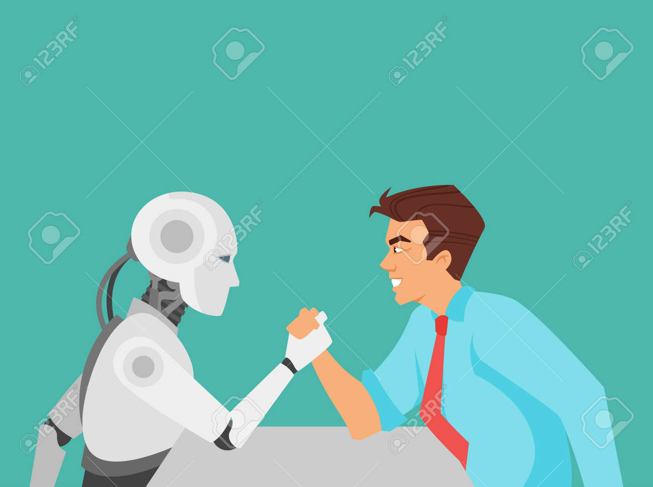 Vector cartoon style illustration of human aggressive businessman vs robot confrontation arm wrestling. Modern technology concept. - 91781701