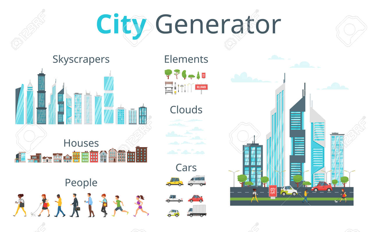 Vector cartoon style city generator with skyscrapers, houses, cars, people and objects. Urban skyline. Modern skyscrapers and city transport. - 93836715