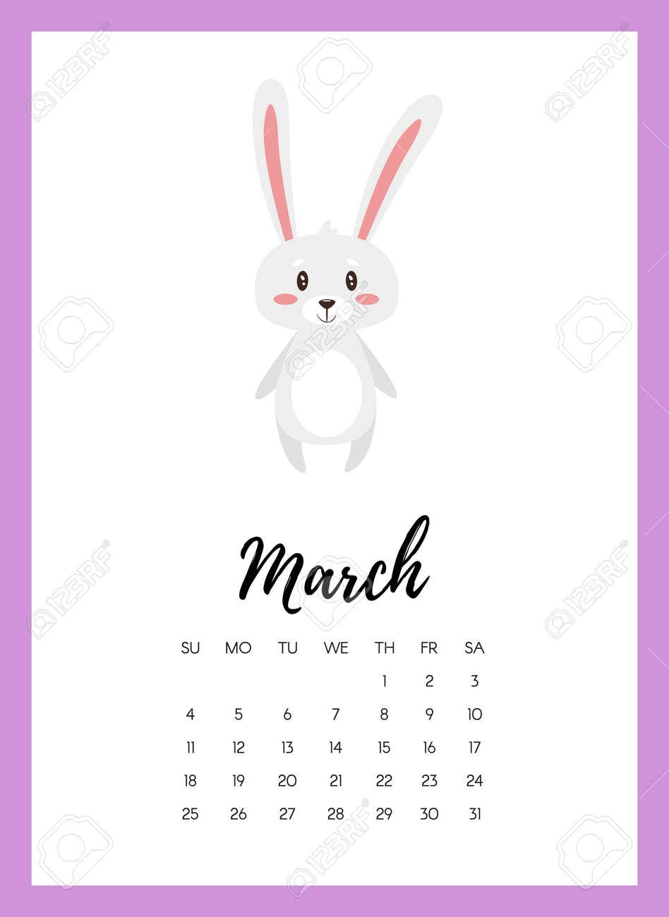 Vector Cartoon Style Illustration Of March 2018 Year Calendar