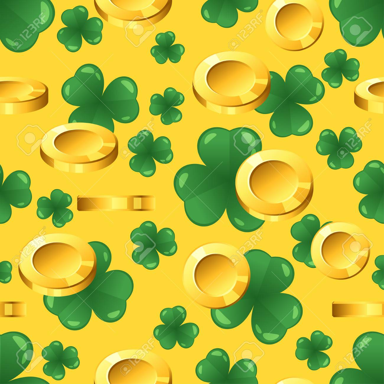 Vector seamless pattern with golden coins and shamrock on yellow background. St. Patrick's day ornament. - 95218805