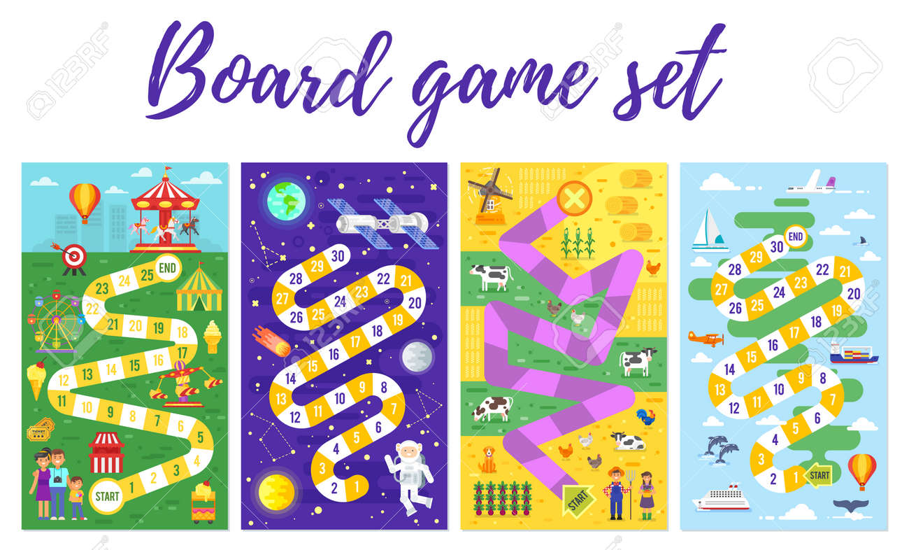 Vector flat style set of kids colorful boardgame template; amusement park, space, farm and travel theme game. For print. Vertical composition. - 96586162