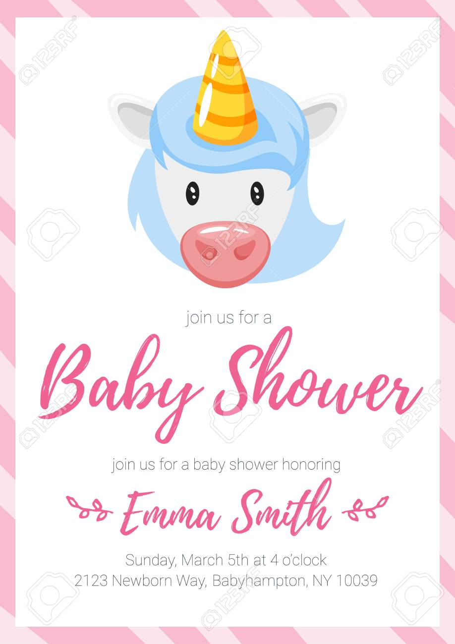 Vector cartoon style illustration of baby shower invitation vector vector cartoon style illustration of baby shower invitation baby girl celebration greeting card template with unicorn head filmwisefo