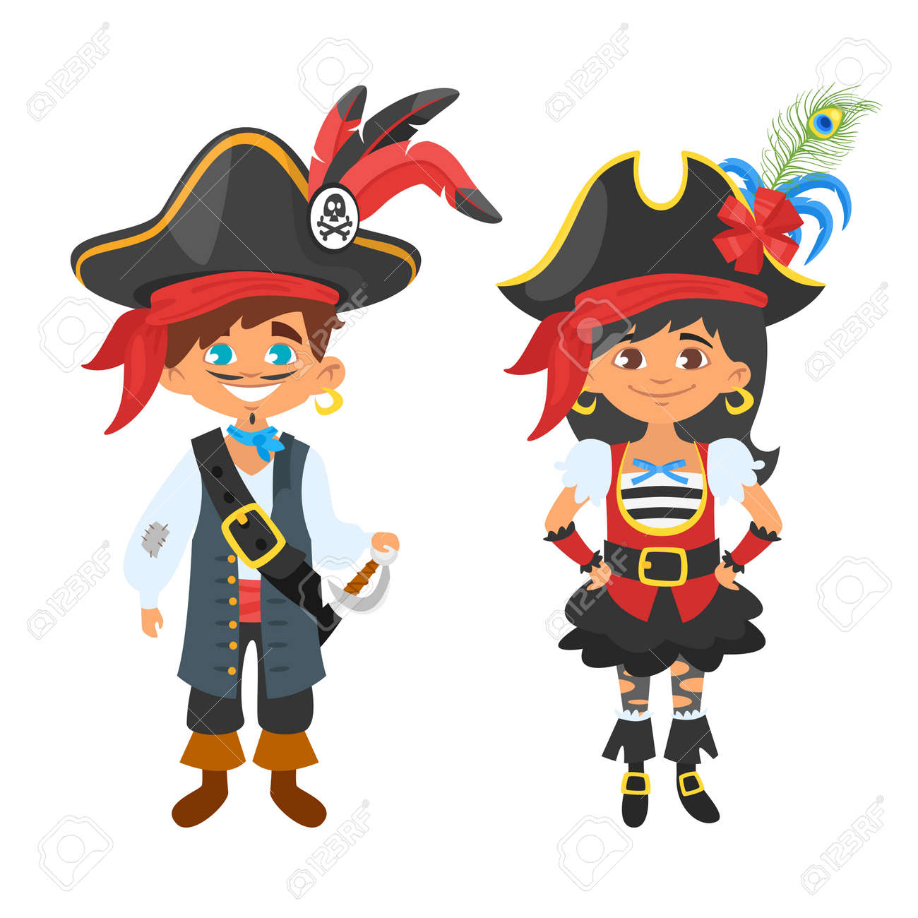 A vector cartoon style boy and girl characters in pirate costumes kids carnival or party
