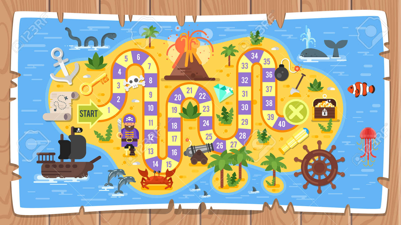 Colored illustration of pirate board game template. - 98885640