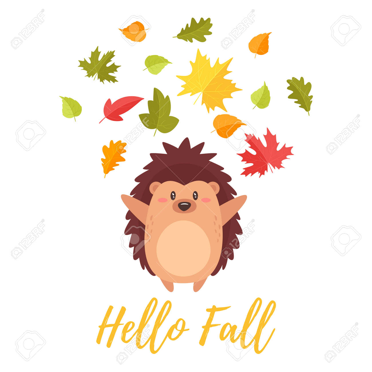 Cartoon Vector Style Illustration Of Cute Hedgehog Tossing Autumn Royalty Free Cliparts Vectors And Stock Illustration Image 99430174