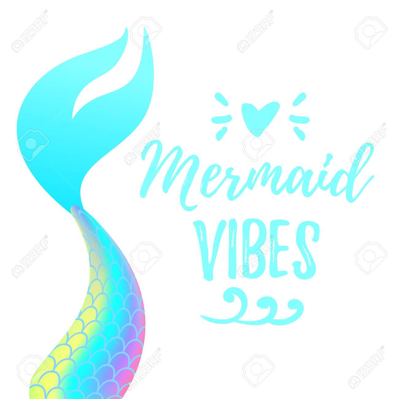 Vector cartoon style illustration of cute mermaid tail. Mermay concept. Mythical marine princess. - 101119991