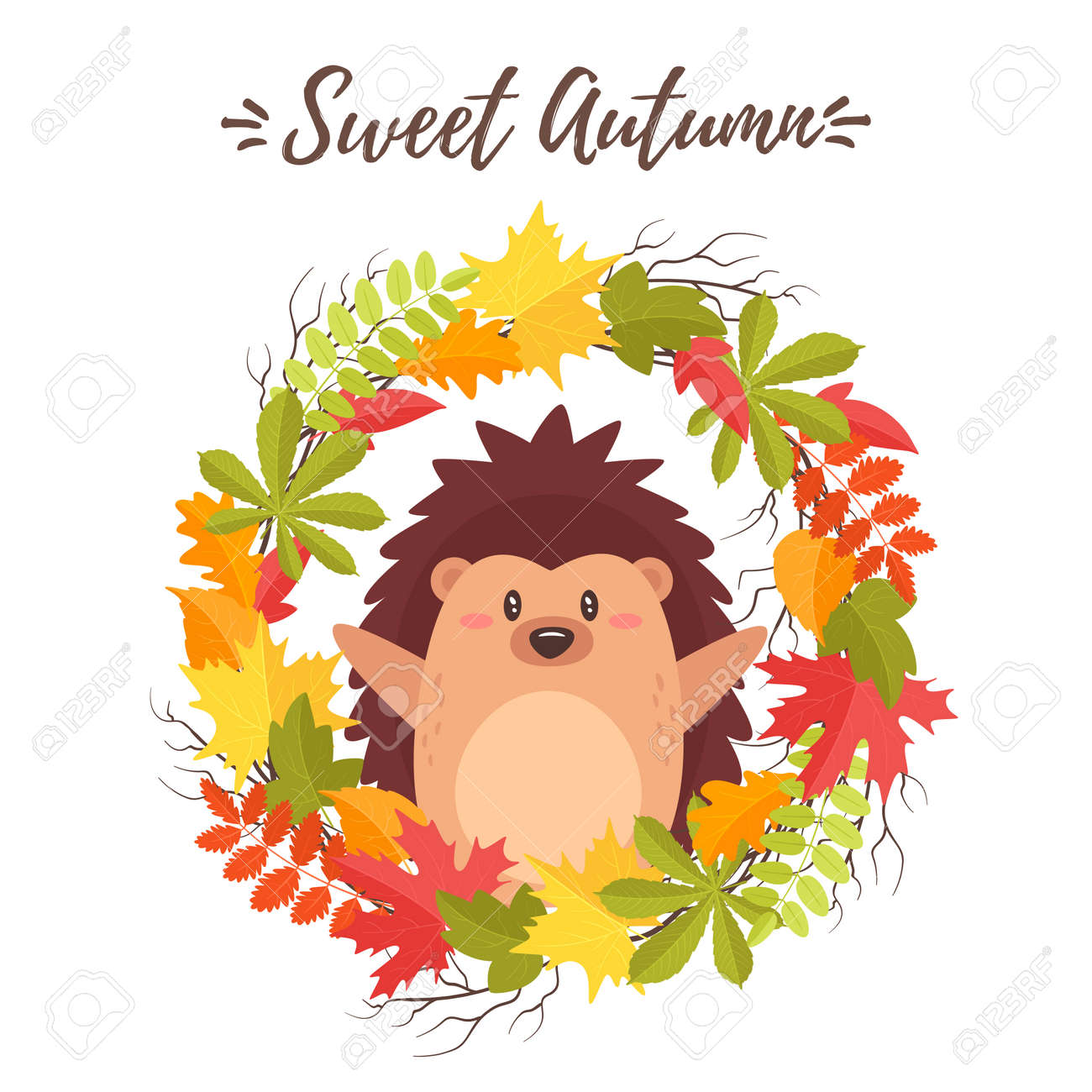 Vector Cartoon Style Fall Design For Season Postcard Or Poster Royalty Free Cliparts Vectors And Stock Illustration Image 101984633
