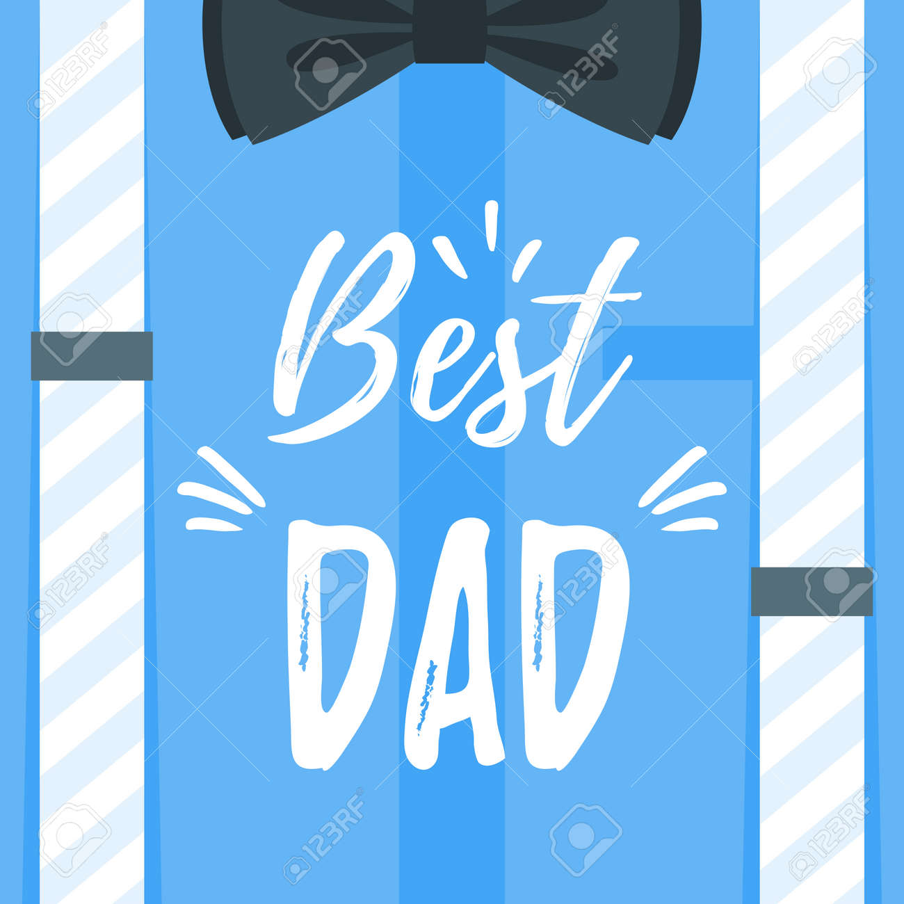 Vector Cartoon Style Illustration Of Fathers Day Greeting Card