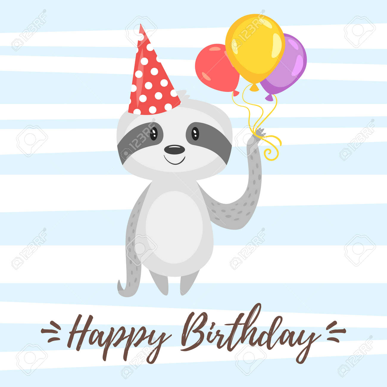 Vector Cartoon Style Illustration Of Happy Birthday Greeting
