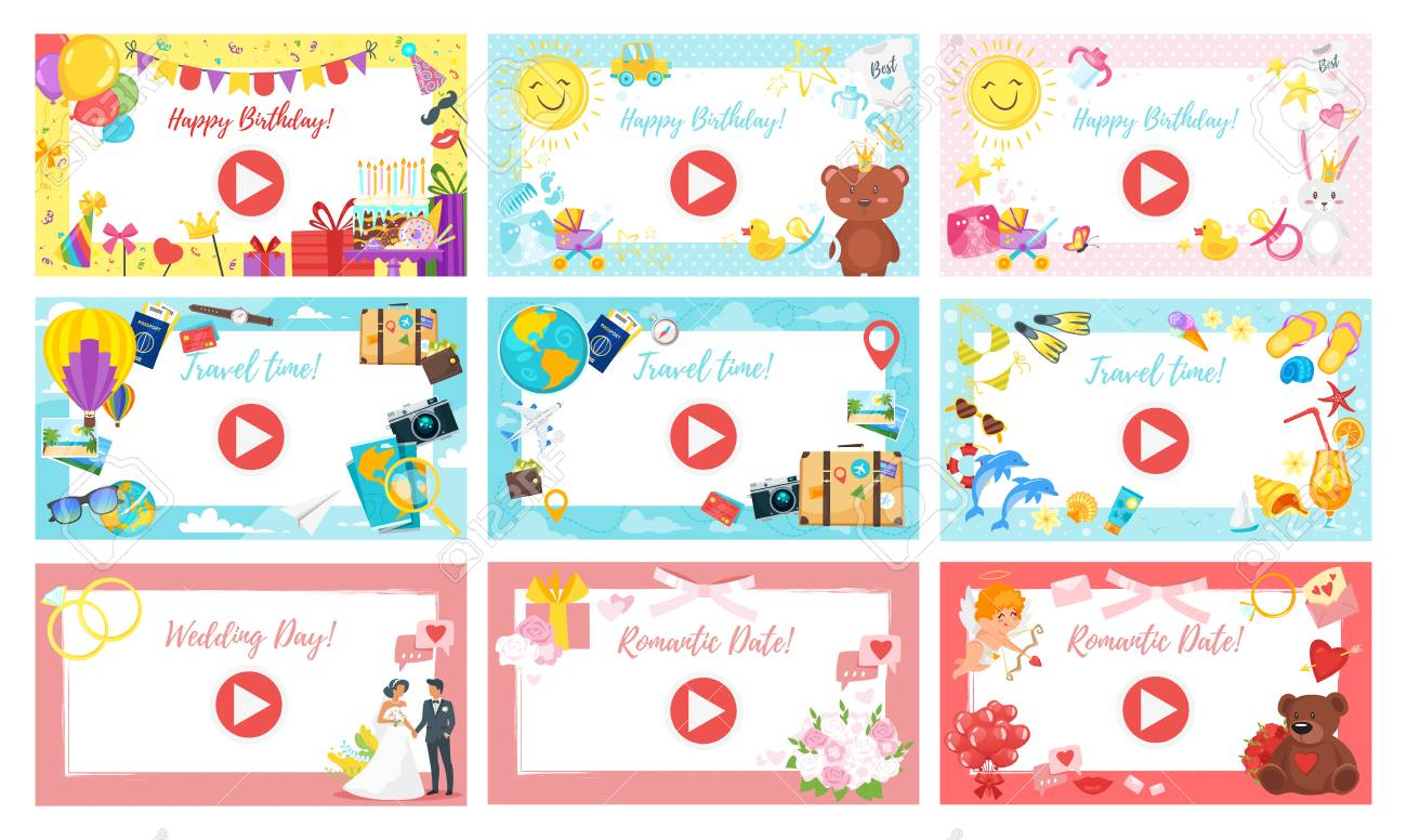 Vector Cartoon Style Video And Photo Frame Background Set For
