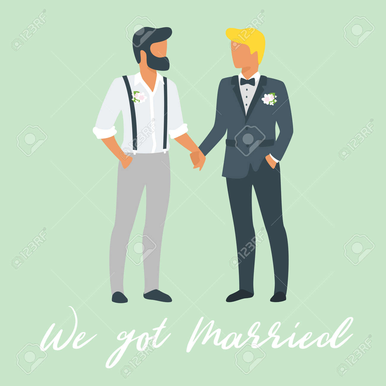 Vector flat style illustration of two young man in suits - same-sex couple. Marriage concept and invitational template. - 105674998